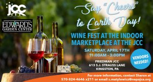 """Say """"Cheers"""" to Earth Day - Wine fest at the Indoor Marketplace at the JCC @ The Sidney and Pauline Friedman Jewish Community Center"""